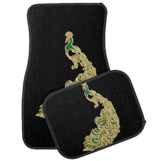 Gold and green peacock glimmering brightly car mat