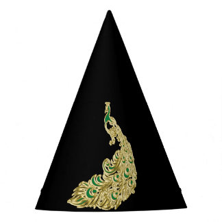 Gold and green peacock glimmering brightly party hat
