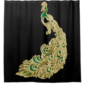 Gold and green peacock glimmering brightly shower curtain