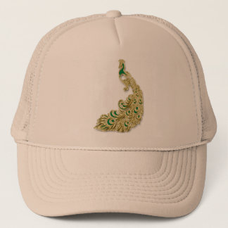Gold and green peacock glimmering brightly trucker hat