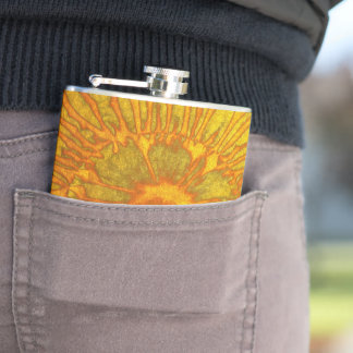 Gold and green plated texture with a abstract patt hip flask