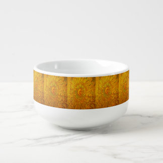 Gold and green plated texture with a abstract patt soup mug