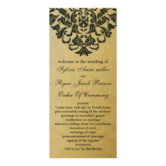 gold and green Wedding program Custom Rack Cards