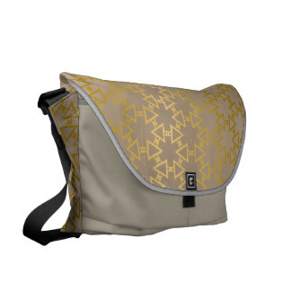 Gold and Grey Excellent Geometric Pattern Messenger Bags