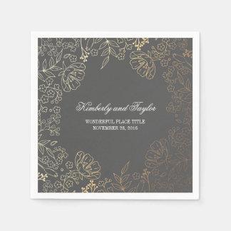 Gold and Grey Floral Vintage Wedding Paper Napkin