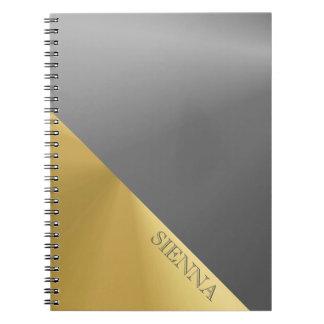 Gold and Grey  Metallic  Print Photo Notebook