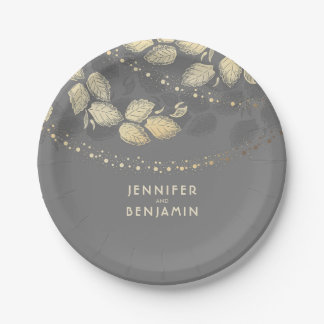 Gold and Grey Nature Inspired Wedding Paper Plate
