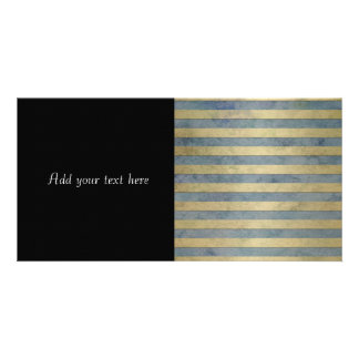 Gold and Grey Stripes Pattern Photo Card