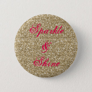 Gold and Hot Pink Glitter Sparkle and Shine 6 Cm Round Badge