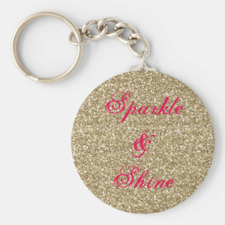 Gold and Hot Pink Glitter Sparkle and Shine Basic Round Button Key Ring