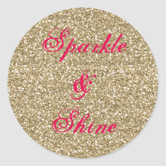 Gold and Hot Pink Glitter Sparkle and Shine Classic Round Sticker