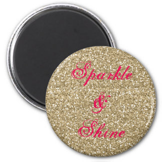 Gold and Hot Pink Glitter Sparkle and Shine Magnet