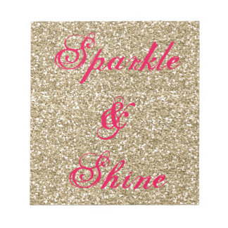 Gold and Hot Pink Glitter Sparkle and Shine Notepad