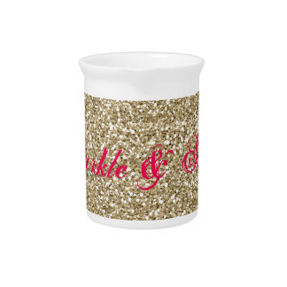 Gold and Hot Pink Glitter Sparkle and Shine Pitcher
