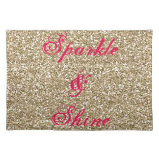 Gold and Hot Pink Glitter Sparkle and Shine Placemat