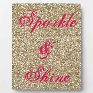Gold and Hot Pink Glitter Sparkle and Shine Plaque