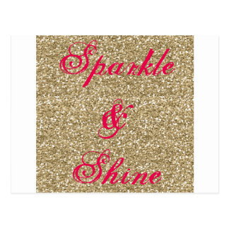 Gold and Hot Pink Glitter Sparkle and Shine Postcard