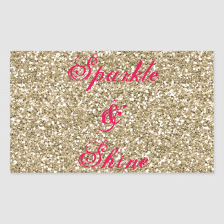 Gold and Hot Pink Glitter Sparkle and Shine Rectangular Sticker