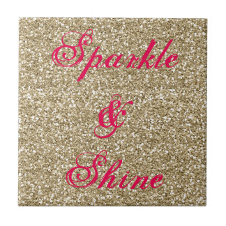 Gold and Hot Pink Glitter Sparkle and Shine Tile