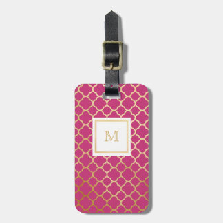 Gold and Hot Pink quatrefoil Luggage Tag