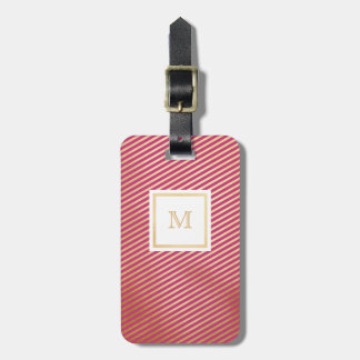 Gold and Hot Pink Striped Luggage Tag