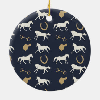 Gold and Ivory English Horses Pattern Christmas Tree Ornaments