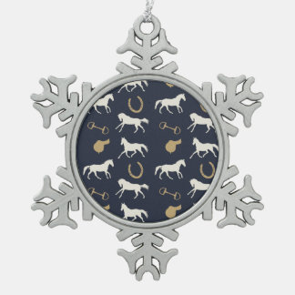 Gold and Ivory English Horses Pattern Ornaments