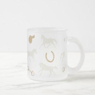 Gold and Ivory English Horses Pattern Coffee Mug