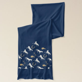 Gold and Ivory English Horses Pattern Scarf