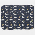 Gold and Ivory English Horses Pattern Receiving Blankets