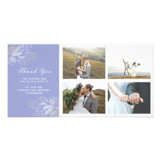 Gold and Lavender Purple Wedding Thank You Custom Photo Card