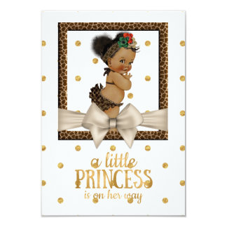 Gold and Leopard Print Girl's Baby Shower 9 Cm X 13 Cm Invitation Card