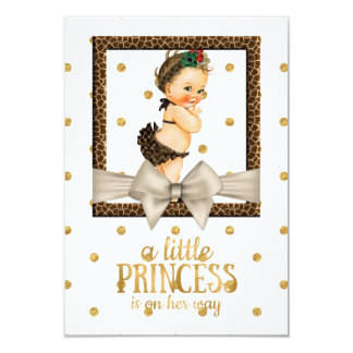 Gold and Leopard Print Girl's Baby Shower Card