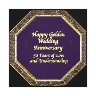 Gold and Marble Happy Wedding Anniversary Canvas Canvas Print