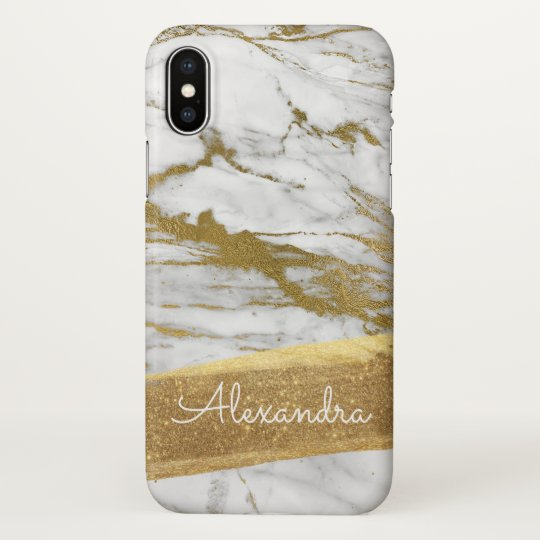 Gold and Marble with Gold Foil and Glitter iPhone X Case