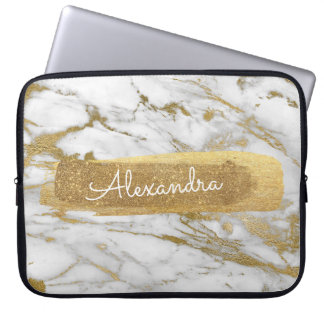 Gold and Marble with Gold Foil and Glitter Laptop Sleeve