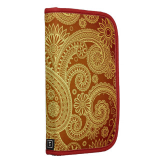 Gold and Maroon Paisley Print Folio Smartphone Organizer