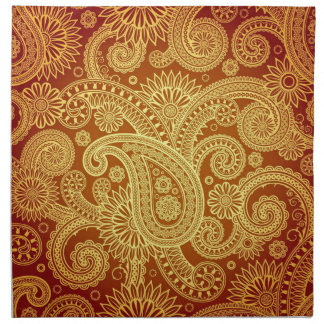 Gold and Maroon Paisley Print Napkin Set