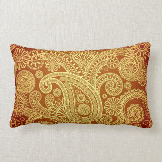Gold and Maroon Paisley Print Throw Pillow