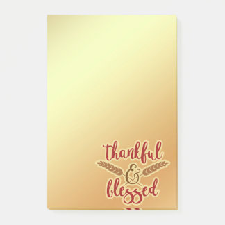 Gold and Maroon Thankful and Blessed Post-it Notes