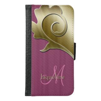 Gold and Mauve Rose Metallic Monogram Samsung Galaxy S6 Wallet Case