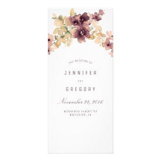 Gold and Mauve Vintage Floral Wedding Programs Rack Card