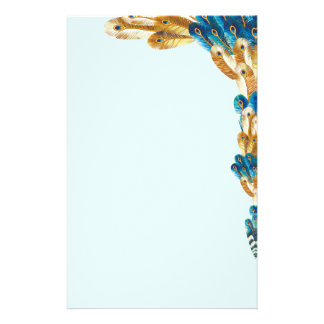 Gold and Metal Blue Peacock Feather Border Stationery