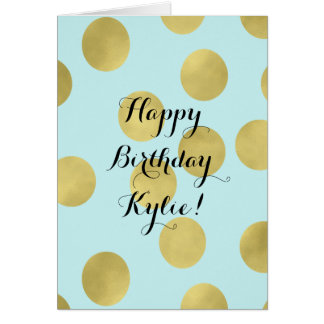 Gold and Mint Blue Dots Birthday Personalized Greeting Card
