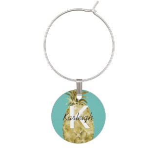 Gold and Mint Watercolor Pineapple Monogram Wine Charm