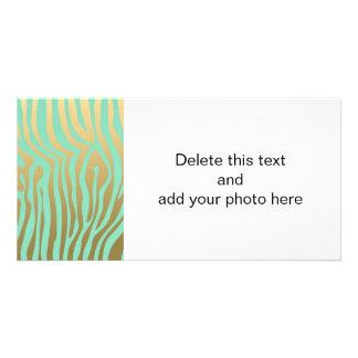 Gold and Mint Zebra Stripes Pattern Photo Card