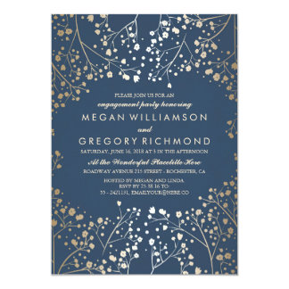 Gold and Navy Baby's Breath Engagement Party Card