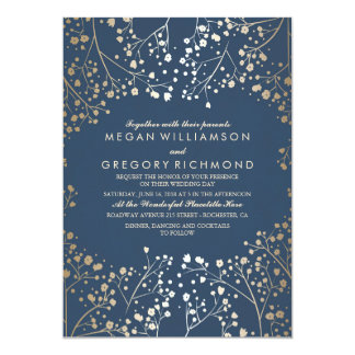 Gold and Navy Baby's Breath Floral Modern Wedding Card