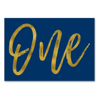 Gold and Navy Blue Elegant Table Number One