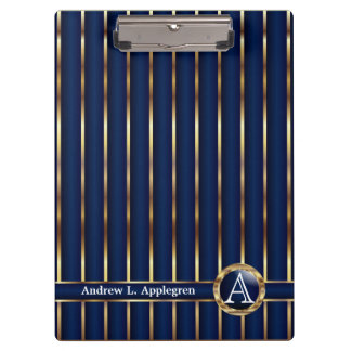 Gold and Navy Blue Stripes Clipboard